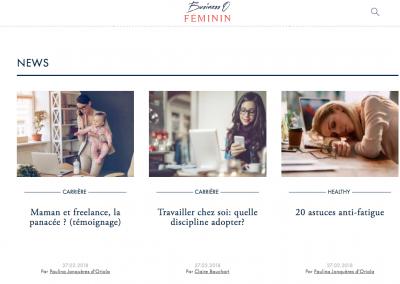 Interview Travailler chez soi : quelle discipline adopter ? , Business O Féminin,  février 2018