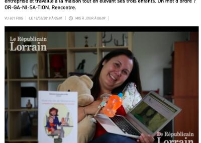 """Interview """"Etre Mompreneur, ce n'est pas juste faire du tricot"""" Le Républicain Lorrain, juin 2018"""