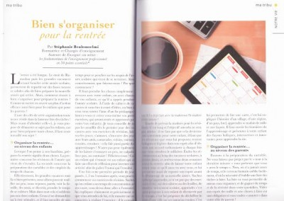 """Article : """"Bien s'organiser pour la rentrée"""" - Ahly Magazine, septembre 2015"""